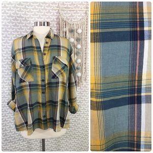 Topshop Plaid Thin Flannel Shirt Cotton Blouse